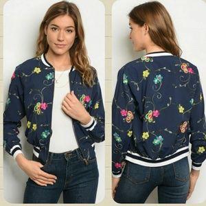 Jackets & Blazers - Navy floral light bomber jacket